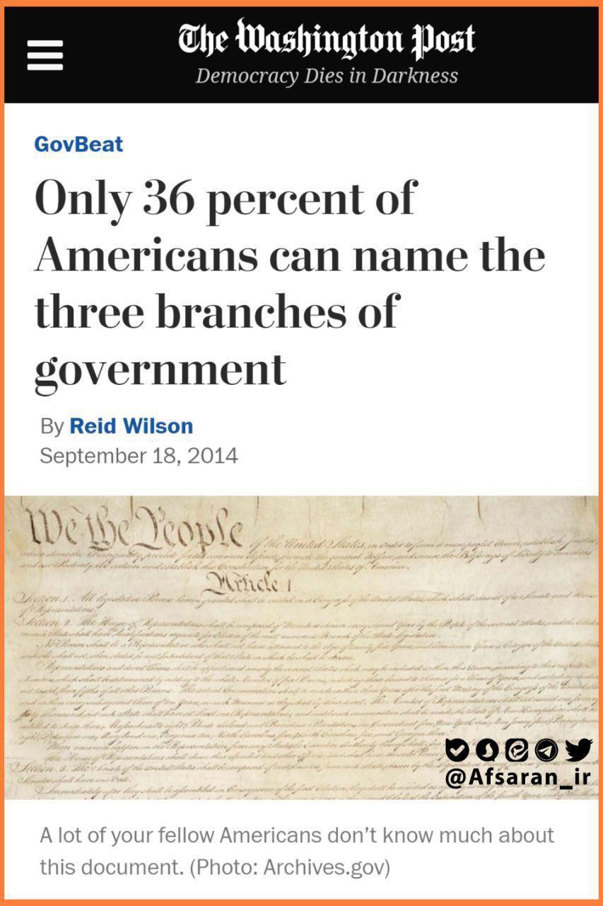 سال 2014 تنها 36 درصد مردم آمریکا میتوانستند 3 قوه را نام ببرند که بالاترین مقدار در سالهای مختلف است!